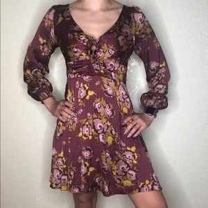Free People NWT Purple Dress Size 6 Dots Floral